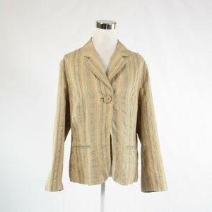 J Jill beige striped blazer jacket L